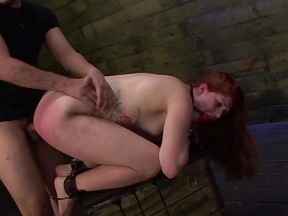 Big ass redhead endures massive dick in dirty BDSM
