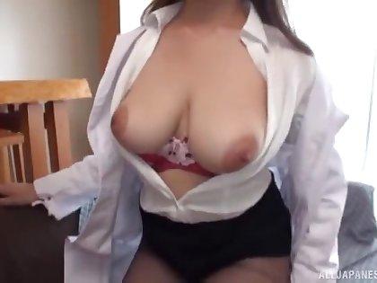Busty amateur Japanese enjoys cock in full webcam scenes