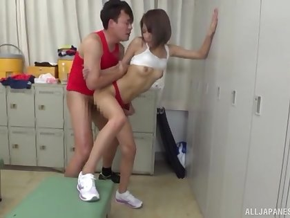Skinny Japanese teen gets fucked with two males