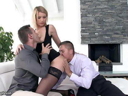 Floozie Karina Grand is having destructive threesome fun yon two co-workers