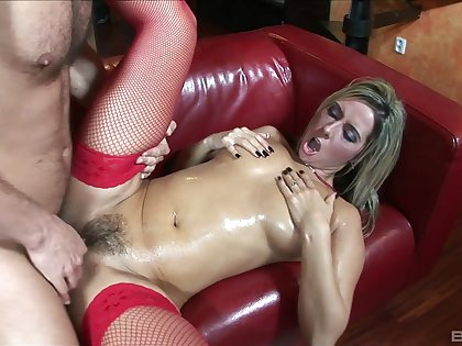 Blonde with reference to red stockings, through-and-through couch fuck XXX