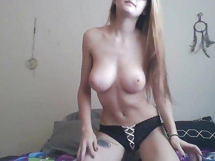 tattooed blonde cutie masturbating