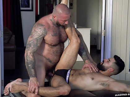 Muscular man hard fucked bearded lover in be transferred to aggravation