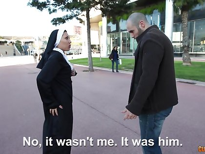 Amateur Latina nun picked up and fucked away from a horny dude. HD