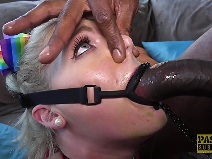 Hung black stud fucks Lisey Sweet's pretty mouth and tight pussy