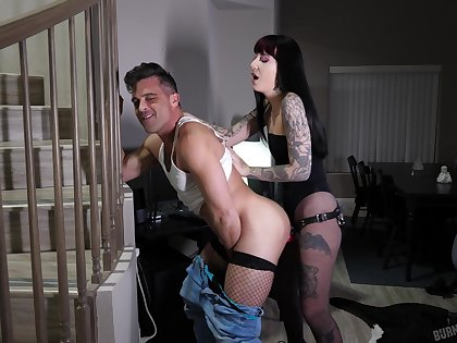 Tattooed bitch acts dominant when ass fucking his man