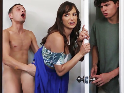 Busty MILF seduces her stepson's shy collaborate