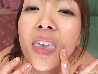 Two Asian sluts acquire fucked hard by four dude and portion his sticky cum