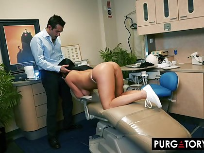 Smoking super-hot unconscionable haired with huge bra-stuffers is having xxx bang-out with her fantastic dentist, wide his situation
