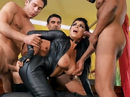 Cutest MILF excellently works butt impaling pussy on three cocks