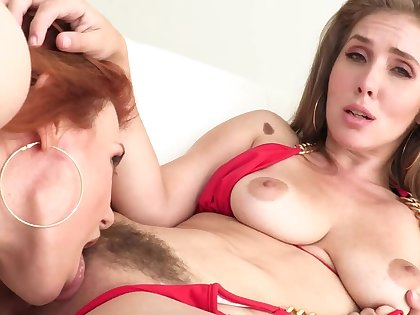 Lesbians touch and swept off one's feet nipples onwards cumming with cunnilingus