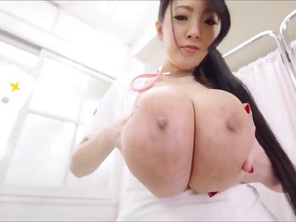 Sexy Nurse Cosplay with Japanese Hitomi Tanaka - Asian tits solo