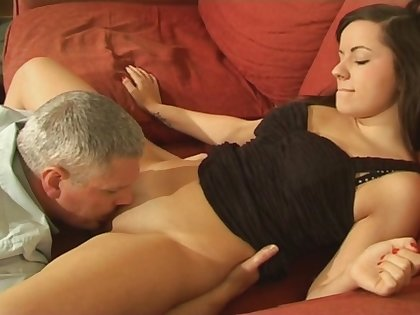 Horn-mad Kaitlyn Andrews gets her untidy pussy plowed on the couch