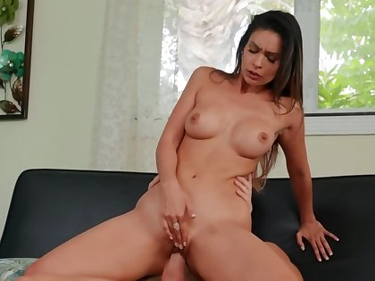Gorgeous babe is being throatfucked plus penetrated