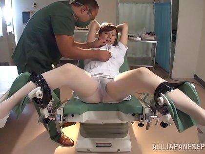 Slutty nurse gets pleasured around a doctors office - Nana Aoyama